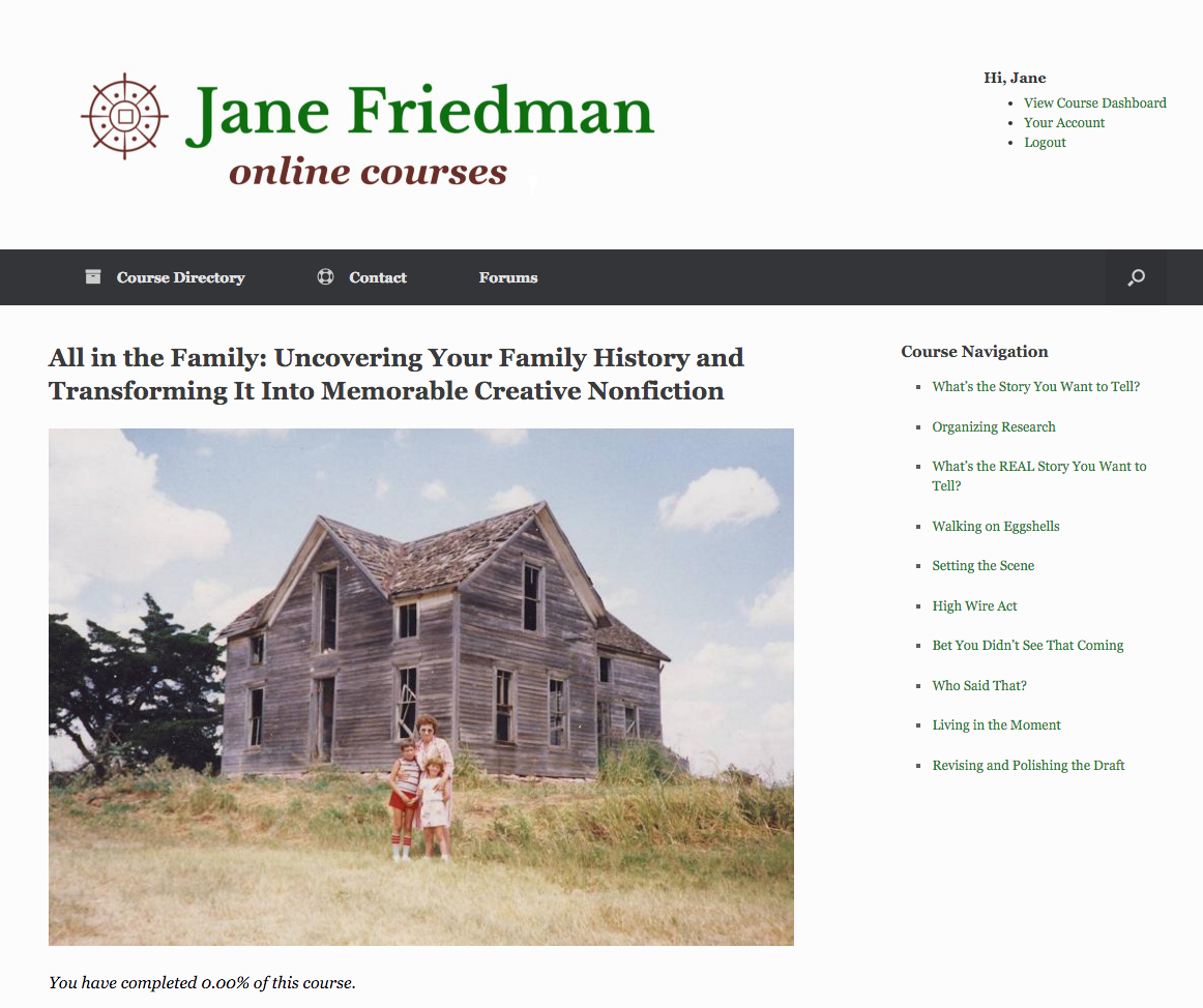 What Jane's course website looks like