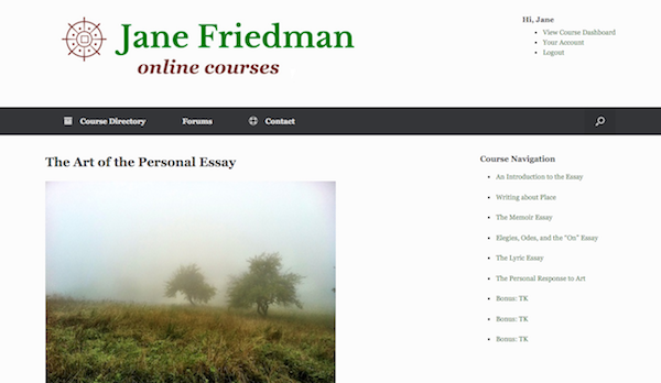 Example of what the course site looks like