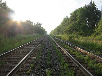 Image: train tracks disappearing into the distance