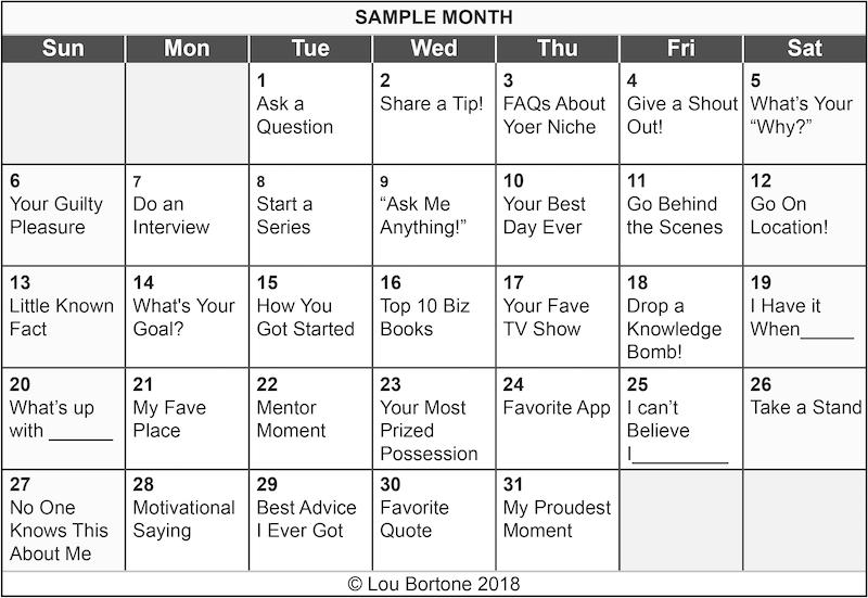 Image: sample calendar of livestreaming ideas