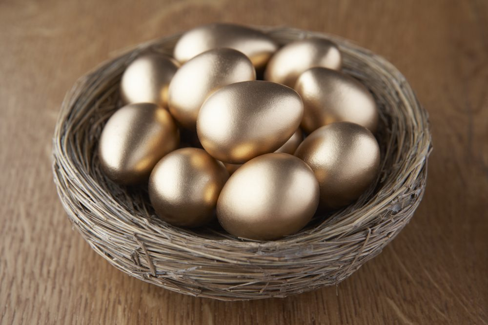 Image: golden eggs in a basket