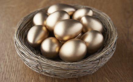 Image: golden eggs in a basket