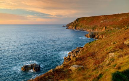 Image: coastal cliffs at sunset