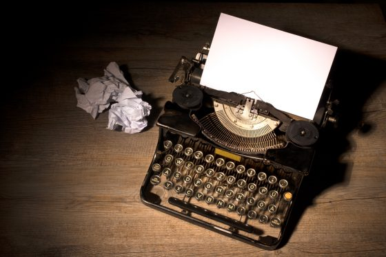 Image: blank paper in a typewriter
