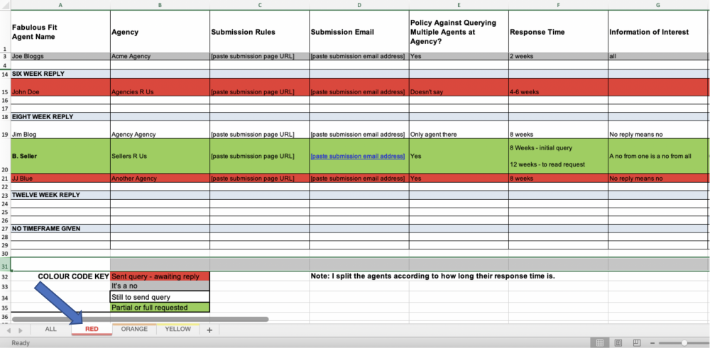 Image: Query tracker spreadsheet, tab labeled Red