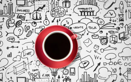 Coffee cup and business strategy sketches on white background