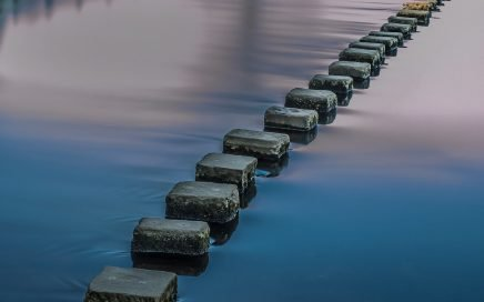 Image: stepping stones across water