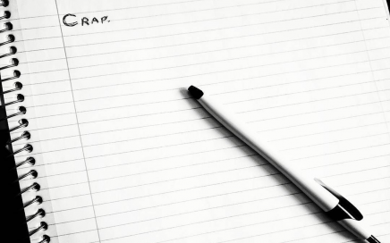 "Image: open notepad with the word ""Crap"" written on the first line"