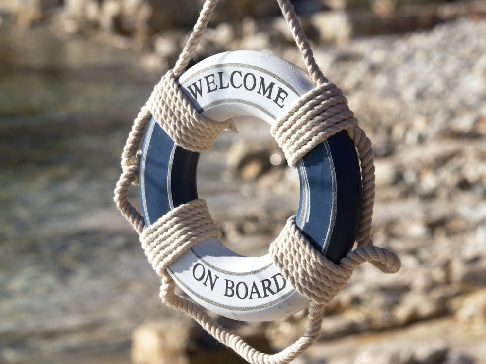 Image: 'Welcome on board' sign made from nautical lifebuoy