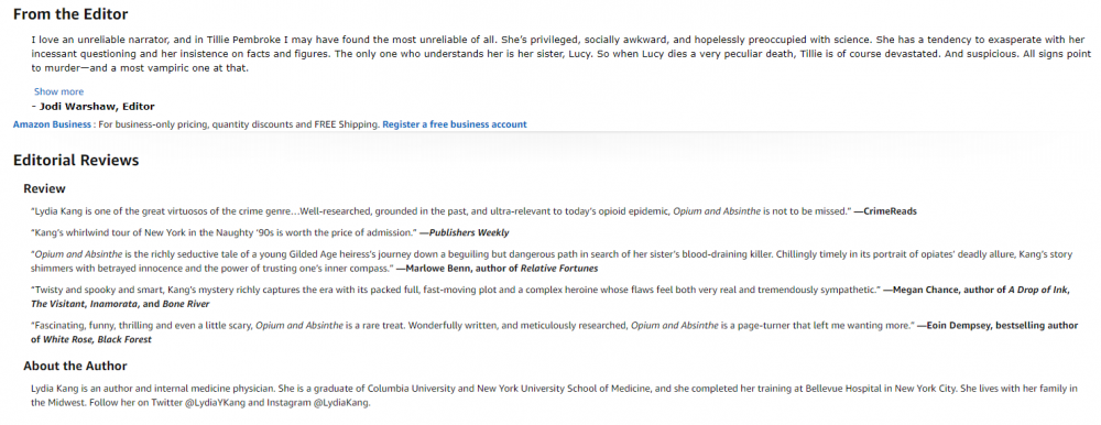 Image: sample Amazon editorial review