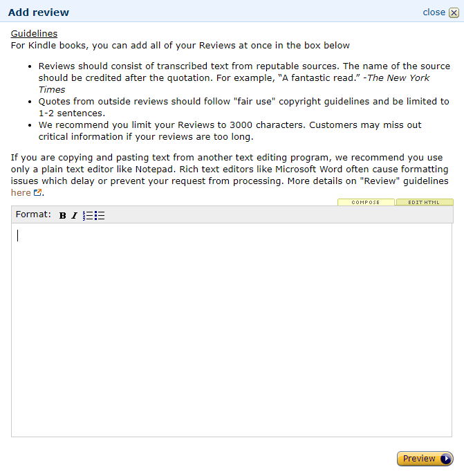 Image: Amazon Author Central 'Add review' dialog box and button labeled 'Preview'