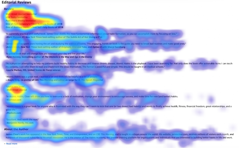 Image: sample 'heat map' of the Amazon Editorial Reviews section, showing that viewers' eyes lingered most on reviewers' names and credentials and least on the text of the review (especially if reviews were longer than just a few words)