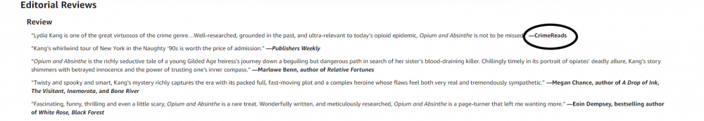Image: sample reviews in the Amazon Editorial Reviews section. At the end of each review is the name of its source, such as a website or influential author, circled for emphasis.