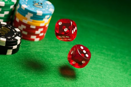 Image: tumbling dice on a casino table