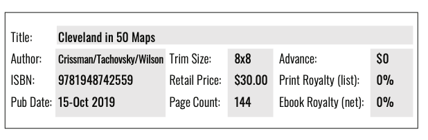 """Cleveland In 50 Maps chart 1: book specifications. Title, author, ISBN, publication date (October 15, 2019), trim size (8"""" square), retail price ($30) and page count (144)"""