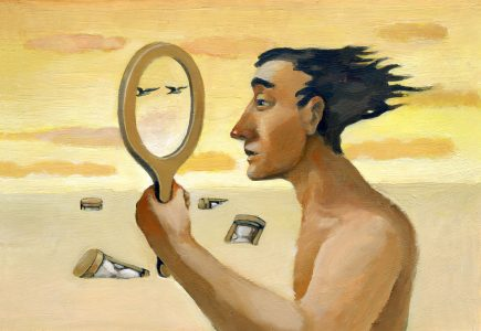 Image: illustration of a man staring into a hand mirror, ignoring the passage of time