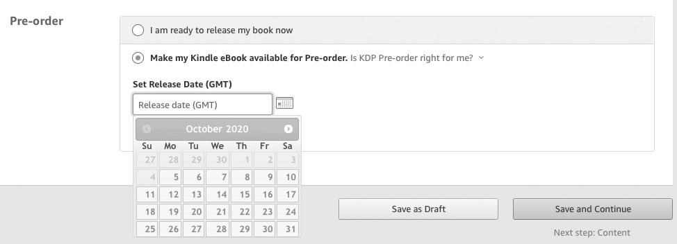 Image: Amazon KDP dashboard, pre-order field
