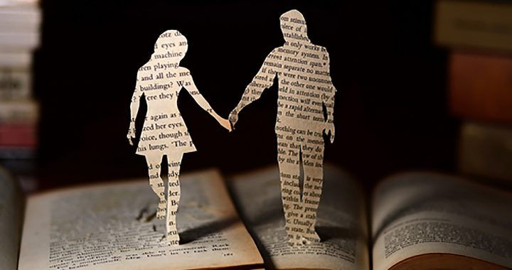 Image: two silhouetted figures cut from pages of separate books, pushed close together and holding hands