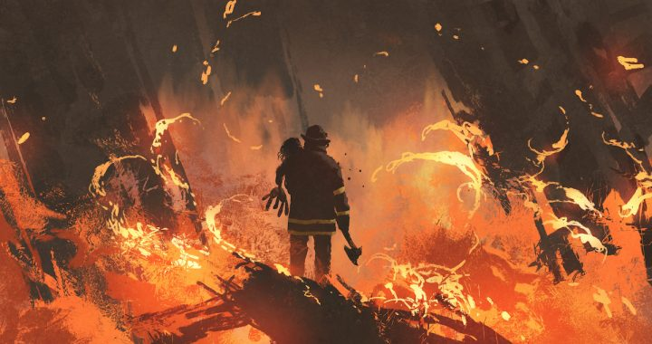 Image: painting of a firefighter rescuing a child amid an inferno
