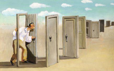 Image: illustration of a man preparing to walk through an endless series of doors