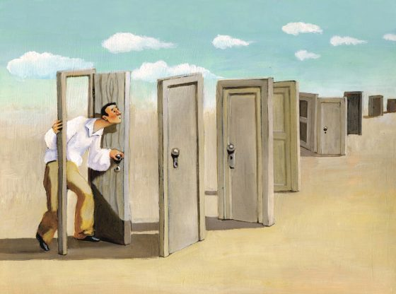 Image: illustration of a man preparing to walk through an endless series of doors
