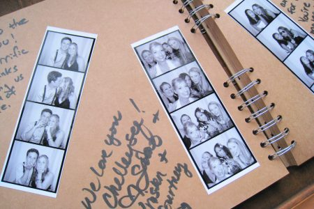 Image: scrapbook pages from a wedding, with photo booth snapshots and handwritten messages from guests