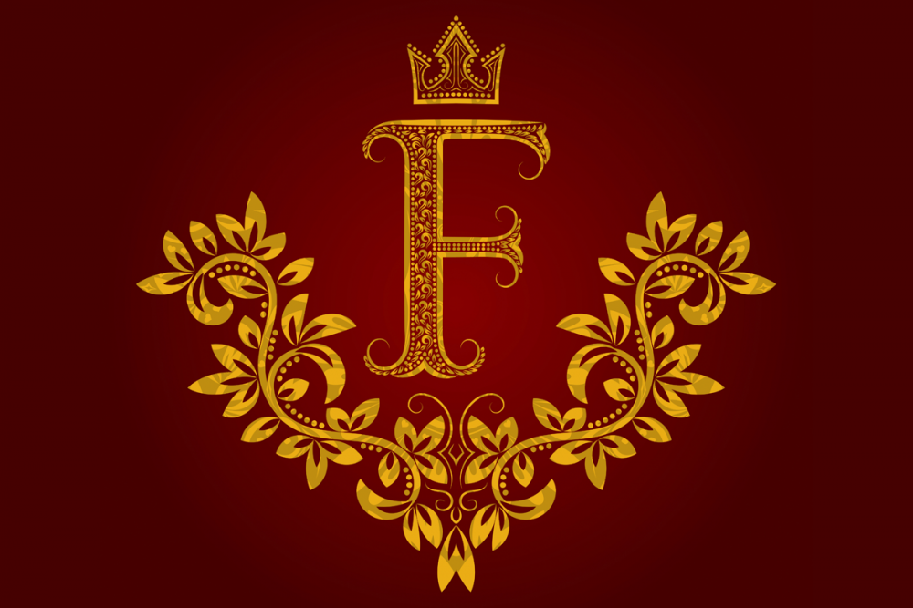 Image: Regal illustration of the letter F, rendered in gold on a red background