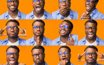 Image: collaged photos of a young man making a range of expressive faces.