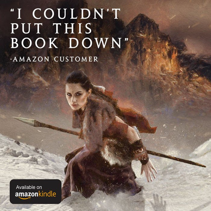"""Imagery from the book cover, with the words """"I couldn't put this book down, says Amazon Customer"""" superimposed, and small graphic stating """"Available on Amazon Kindle""""."""