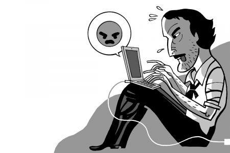 Illustration of Edgar Allan Poe sending an angry face emoji on a laptop computer.