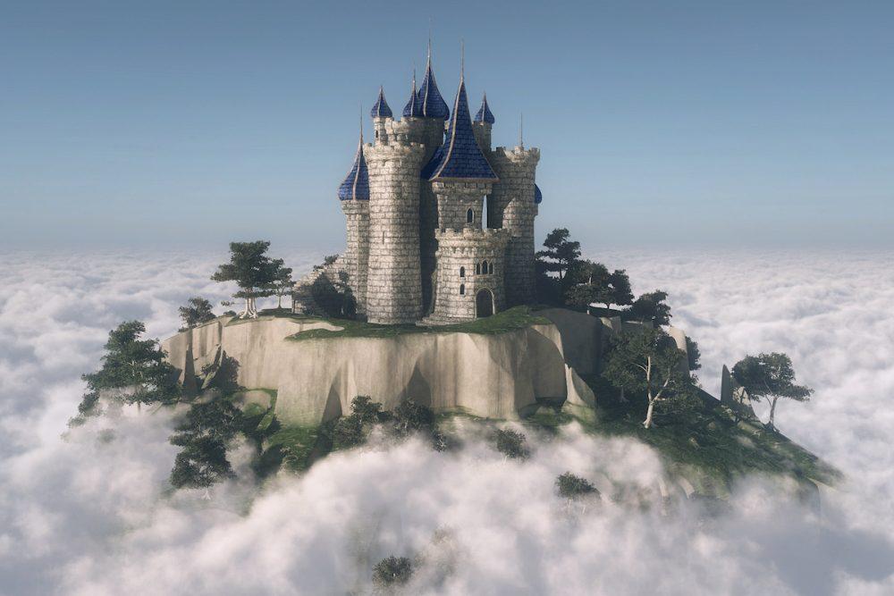 Image: a castle on a mountaintop above the cloud line.