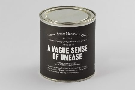 """Image: sealed can labeled """"A Vague Sense of Unease"""""""