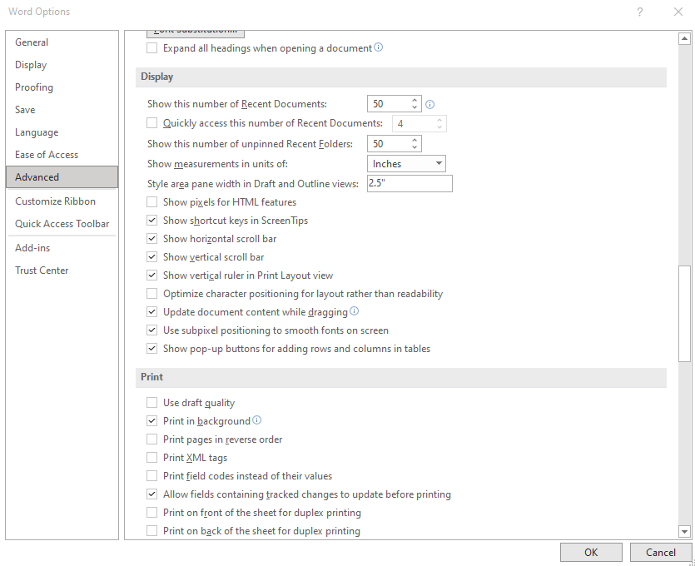 """A screenshot of the Word Options window in Word 365, focused on the Advanced settings and """"style area"""" options mentioned in step 3 of the tutorial."""
