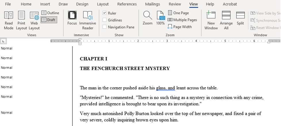 """Screenshot in Word 365 of a document in """"Draft"""" view mode with the """"style area"""" option on the left hand side."""