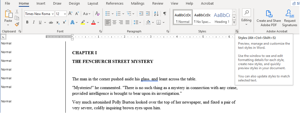 """Screenshot in Word 365 of a document in """"Draft"""" view mode with the """"style area"""" option on the left hand side and the cursor highlighting the """"styles list"""" feature on the """"Home"""" menu."""