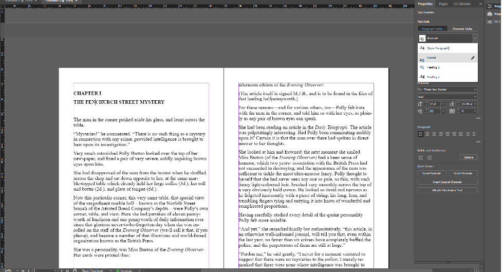 Screenshot in InDesign showing the overrides created in Word within the InDesign program.